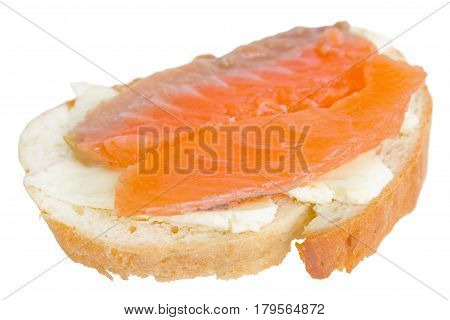 Sandwich with butter and red fish isolated on white background.