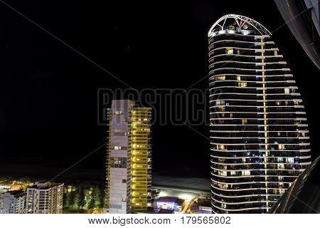 GOLD COAST, AUSTRALIA - MARCH 31 2017: Gold Coast high rise luxury apartments, aerial view facing towards the Broadbeach beachside