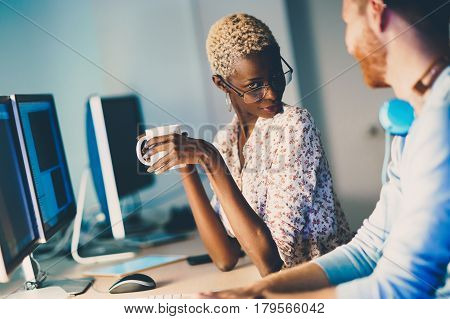 Woman responsible for helping customers az help desk concept