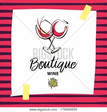 Vector Wine Boutique Hand Drawn Logo With Wineglass And Green Leaf. Element Of Menu, Corporate Ident