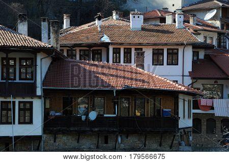 VELIKO TARNOVO, BULGARIA - MARCH 22, 2017: Closeup view of the houses in Asenov district
