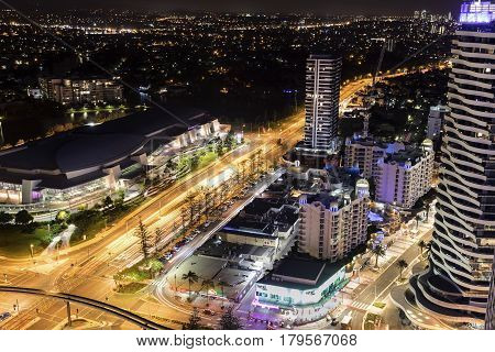 GOLD COAST, AUSTRALIA - MARCH 31 2017: Gold Coast Broadbeach aerial nightscape with the Convention and Exhibition Centre  and surrounds