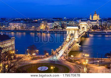 Panorama of Budapest with the Chain Bridge at night, Hungary