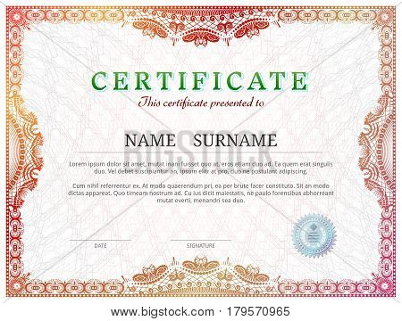 Certificate template with guilloche elements. Red diploma border design for personal conferment. Vector illustration for award patent validation license education authentication achievement etc