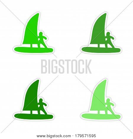 assembly realistic sticker design on paper windsurfing