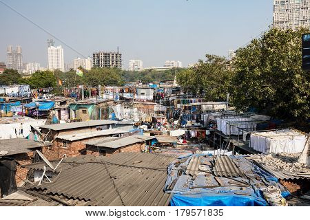 The famous laundry area of Dhobi Ghat in Mumbai, India