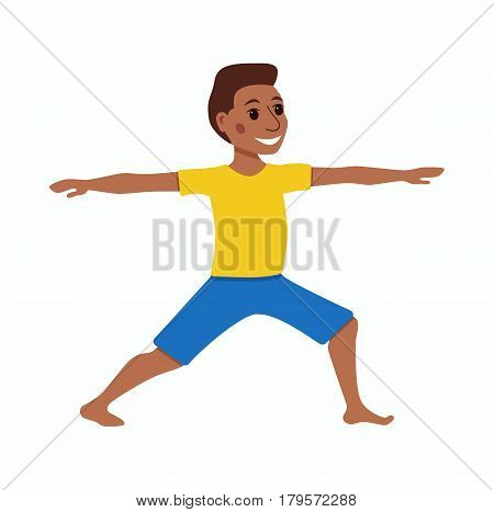 Cute cartoon gymnastics for children and healthy lifestyle sport illustration. Vector happy African kids fitness exercise and yoga asana colorful design
