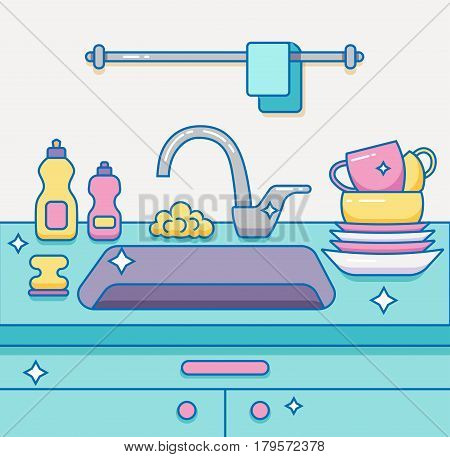 Kitchen sink with kitchenware, dishes, utensil, towel, wash sponge, dish detergent colorful outline cartoon illustration. Domestic interior vector concept for household and clean design