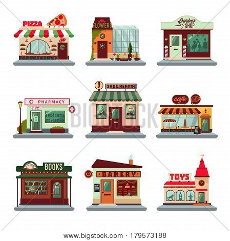Colorful city buildings set with facades of stores shops restaurants and cafes isolated vector illustration