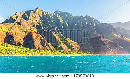 Amazing views of Na Pali coast from the boat tour, Kauai Island, Hawaii