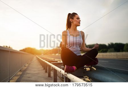 Beautiful female getting away from urban fast paced life