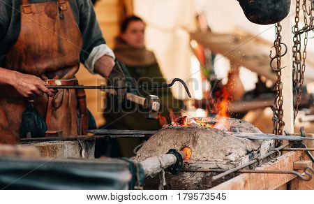 the work of the blacksmith brazier outdoor