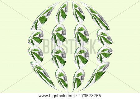 Marijuana Leafs Inside A Sphere High Quality