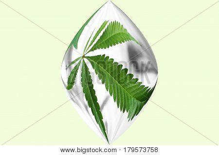 Marijuana Leaf Inside A Sphere High Quality