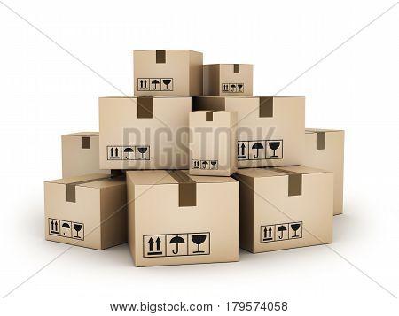 Many cardboard boxes on white background. 3d illustration