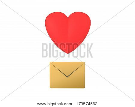 3D Icon with letter envelope and cartoon heart. This image can be used as a icon when somebody wants to transmit love.