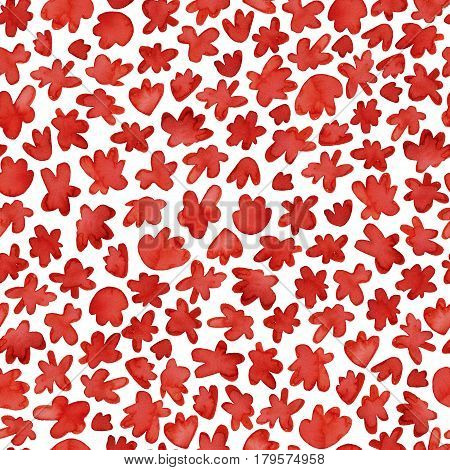 Red watercolor pattern. Hand drawn flowers background. Ink illustration. Hand drawn ornament for wrapping paper.