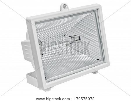 Halogen lamp square isolated on white background