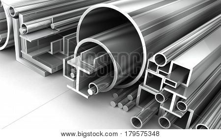 Steel Pipe metal roll in white background. 3d illustration