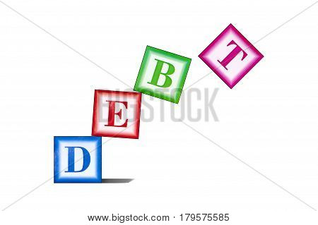 Boxes with the letters DEBT falling down as a concept of unsustainable debt