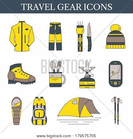Travel gear icons. Set of vector outdoor equipment. Hiking and camping symbols collection in gray and yellow. Design elements with open paths.