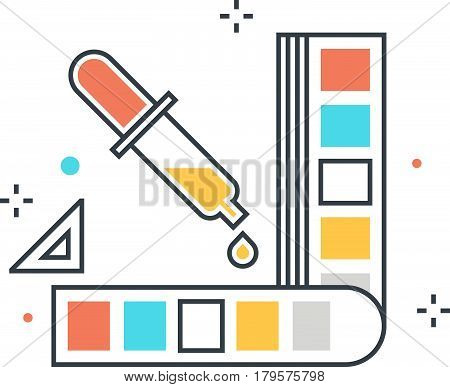 Color Line, Color Picker Concept Illustration, Icon