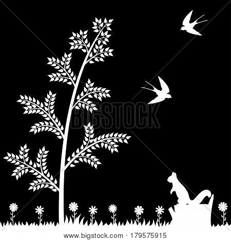 Vector illustration of summer in the forest.