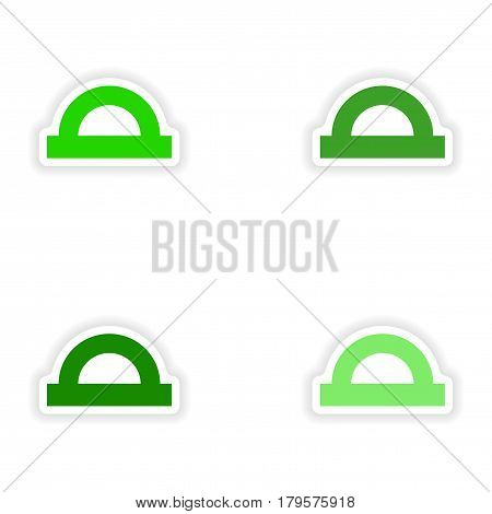 assembly realistic sticker design on paper protractor