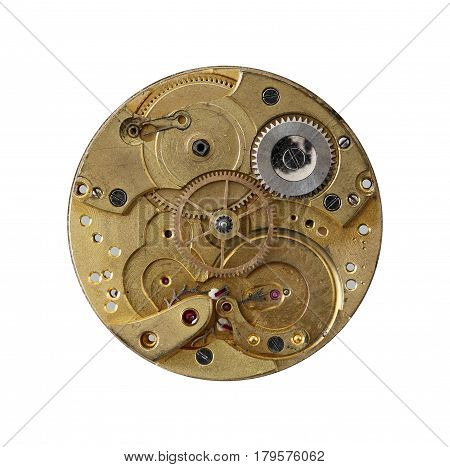 Detail of the old and dismantled clockwork mechanism