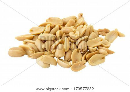 Pile of Peanut isolated on white background and clipping path