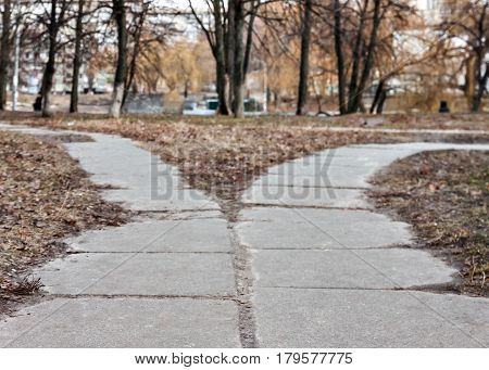 The Road In The Park Diverge In Different Directions, Fork