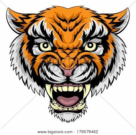 An illustration of a mean powerful tiger animal face