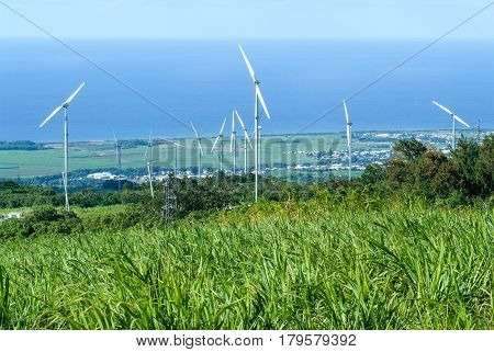 Saint-Andre (La Reunion), France - 12 March 2003: Green meadow with wind turbines generating electricity on La Reunion Island, France