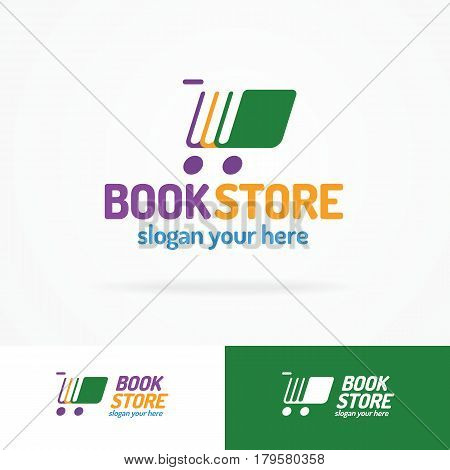 Book store logo set consisting of books different color and silhouette shopping cart for use bookshop, market, sale etc. Vector Illustration