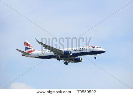 Amsterdam the Netherlands - March 31st 2017: G-LCYT BA CityFlyer Embraer ERJ-190 approaching Polderbaan runway at Schiphol Amsterdam Airport the Netherlands