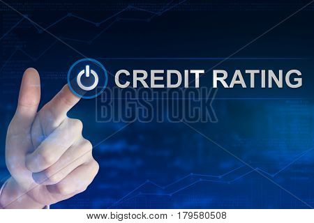 double exposure business hand clicking credit rating button with blurred background