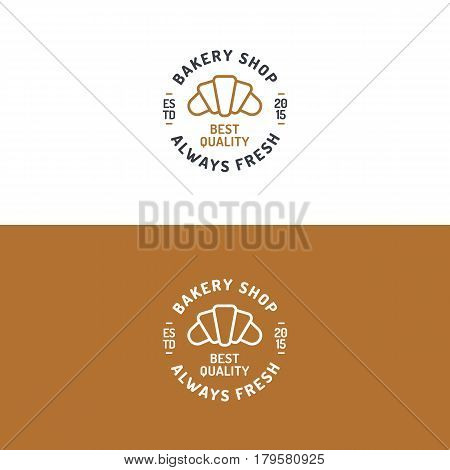 Bakery shop logo set with croissant modern line style for use bread house, cupcake store, food market, cafe, restaurant etc. Vector Illustration