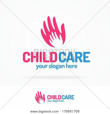 Child care logo set flat modern color consisting of silhouette baby hand in big hand use for support and friendship community, rehabilitation, health save, medical care etc. Vector Illustration