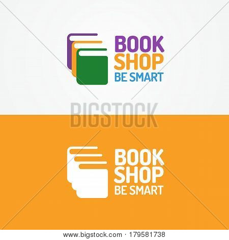 Book shop logo set consisting silhouette of books different color and sign be smart isolated on background for use bookstore, sale, market etc. Vector Illustration