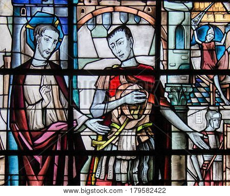 Stained Glass - Jesus And Pontius Pilate