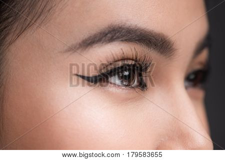 Perfect Shape Of Eyebrows. Beautiful Macro Shot Of Female Eye With Classic Eyeliner Makeup.