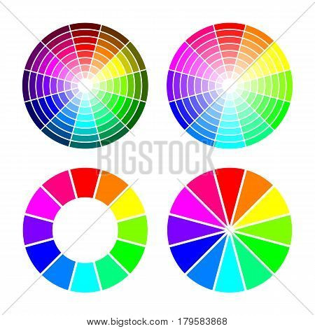 RGB color wheel from 12 color, red green blue. Vector set on white background