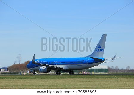 Amsterdam the Netherlands - March 25th 2017: PH-BXZ KLM Royal Dutch Airlines Boeing 737-800 takeoff from Polderbaan runway.