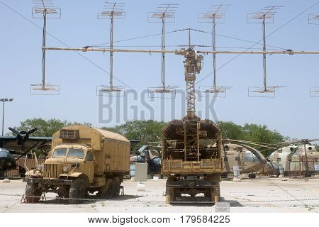 HATZERIM, ISRAEL - APRIL 26, 2016: Operation Rooster 53 Radiolocation station display in the Israeli Air Force Museum