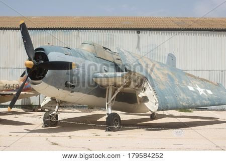 HATZERIM, ISRAEL - APRIL 26, 2016: Torpedo Bomber Grumman TBF Avenger  display in the Israeli Air Force Museum
