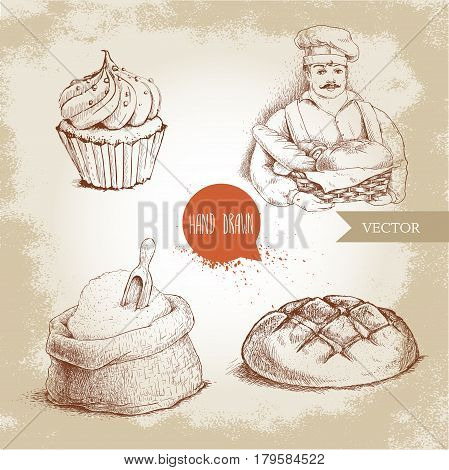 Hand drawn set bakery illustrations. Baker with baker basket of fresh bread bread loaf cupcake and sack with flour and wooden scoop.