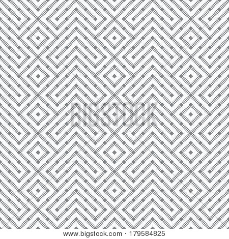 Seamless pattern. Abstract geometric background. Modern texture with dashed lines. Regularly repeating geometrical grid with rhombuses strips corner shapes. Vector element of graphical design