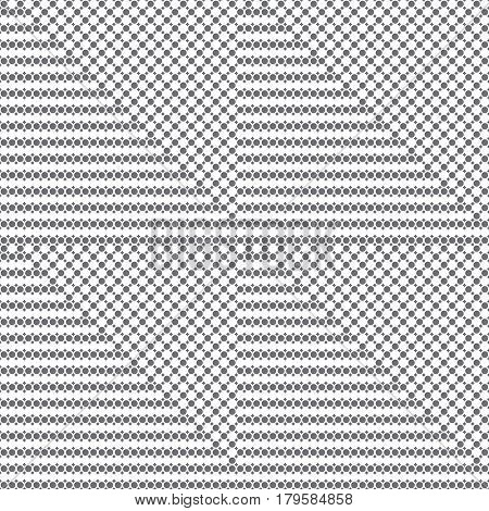 Vector seamless pattern. Infinitely repeating modern texture consisting of small rhombuses and dots which form triangle shapes. Abstract seamless textured background.