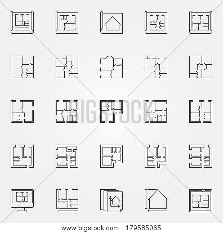 House plans icon set. Vector home and apartment plan concept symbols in thin line style