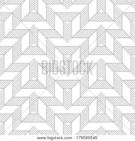 Vector seamless pattern. Modern stylish texture with thin lines which form regularly repeating contemporary ornament with geometrical zigzag shapes. Abstract seamless textured background